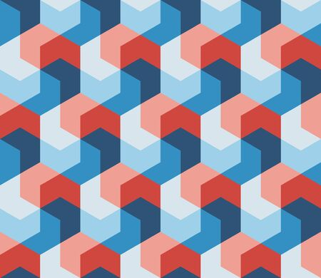 blue prints: Vector Seamless Hexagonal Shape Geometric Pattern In Pink Red & Blue Abstract Background