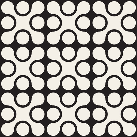 Vector Seamless Black And White Rounded Cross Square Pattern Abstract Background