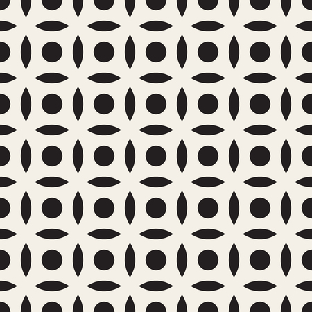 Vector Seamless Black And White Simple Circle Arc Square Pattern Abstract Background