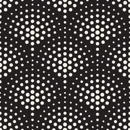 Vector Seamless Black And White Halftone Circles Mosaic Pattern Abstract Background Illustration