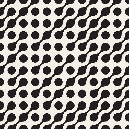 Vector Seamless Black & White Rounded Circle Metaball Pattern Abstract Background