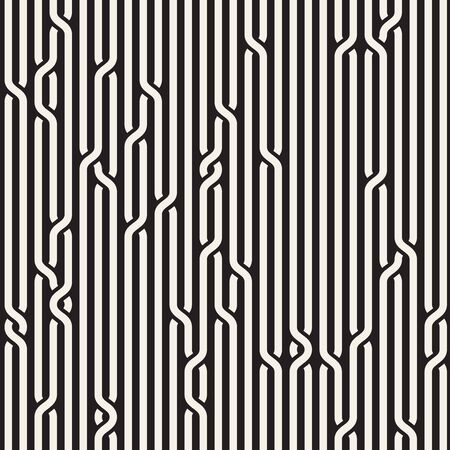 Vector Seamless Black & White Rounded Rope Lines Brade Pattern Abstract Background Vettoriali