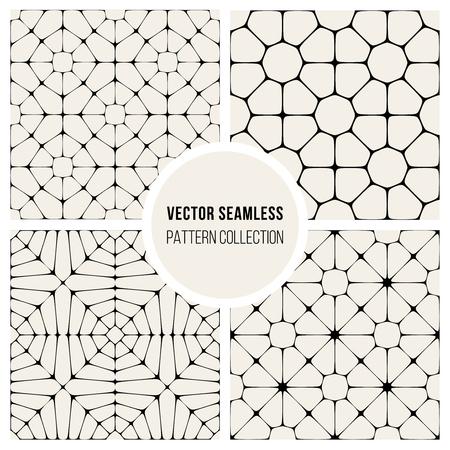 pavement: Set of Four Vector Seamless Black And White Geometric Mosaic Pavement Pattern Background