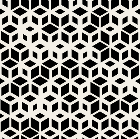 Vector Seamless Black and White Random Size Rhombus Grid Pattern Abstract Background