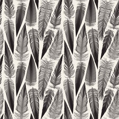 Vector Black And White Seamless Bird Feather Jumble Pattern Background