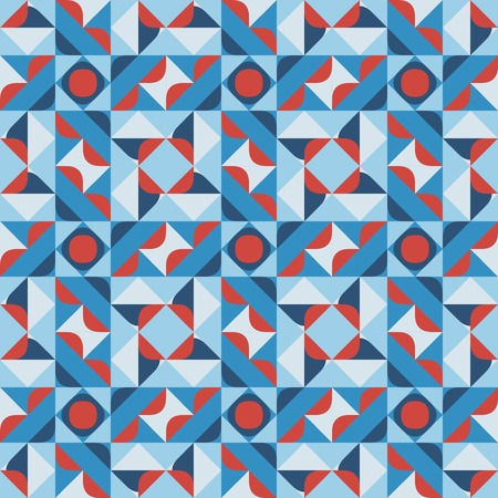 Vector Seamless Geometric Square Pattern in Blue White and Red Abstract Background