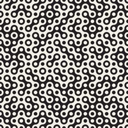 シームレスな黒と白のベクトル円ハーフトーン Truchet パターンの抽象的な背景