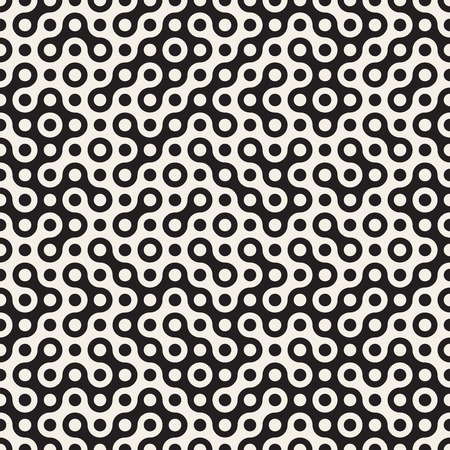 Vector Seamless Black and White Circles Halftone Truchet Pattern Abstract Background