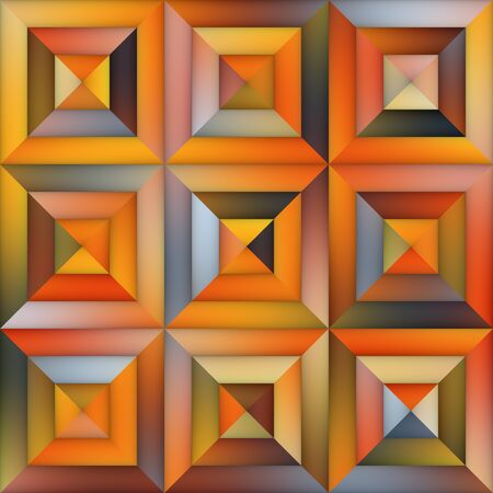 tiling: Raster Gradient  Geometric Tiling Pavement in Orange Shades Abstract Background