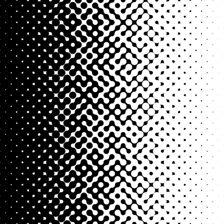 Raster Seamless Black and White Truchet Halftone Gradient Pattern Abstract Background
