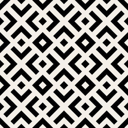 Vector Seamless Black And White  Geometric Lines Pattern Abstract Background  イラスト・ベクター素材