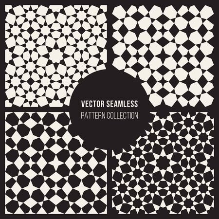 islamic: Set of Four Vector Seamless Black And White Geometric  Islamic Star Tiling Pattern Abstract Background
