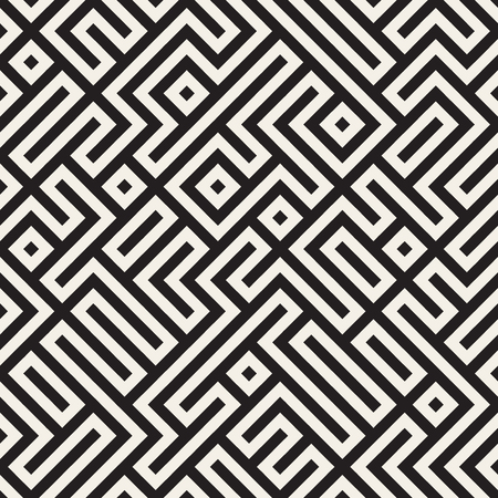 Vector Seamless Black And White Irregular Geometric Blocks Pattern Abstract Background