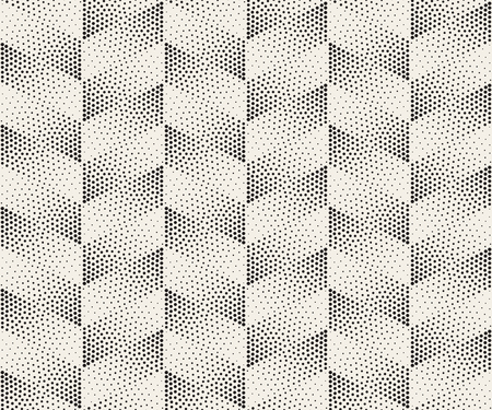 Vector Seamless Black And White Circle Stippling Chevron ZigZag Halftone Gradient Pattern Abstract Background