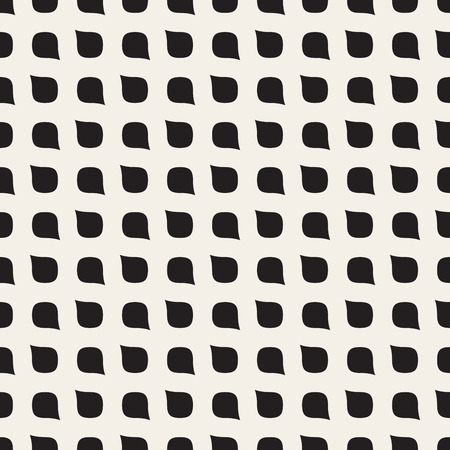 Vector Seamless Black and White Rounded Drop Shape Grid Pattern Abstract Background Vettoriali