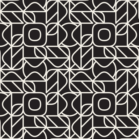 Vector Seamless Black and White Rounded Line Grometric Lace  Pattern Abstract Background