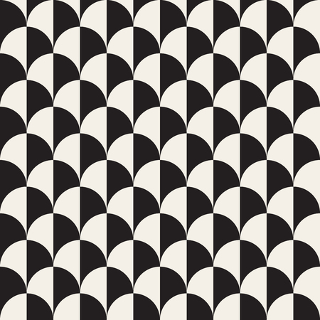 checkerboard backdrop: Vector Seamless Black And White Overlapping Semi Circle Pattern Abstract Background