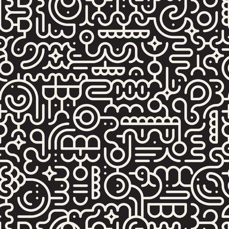 Vector Seamless Black And White Line Art Geometric Doodle Pattern Abstract Background Vettoriali