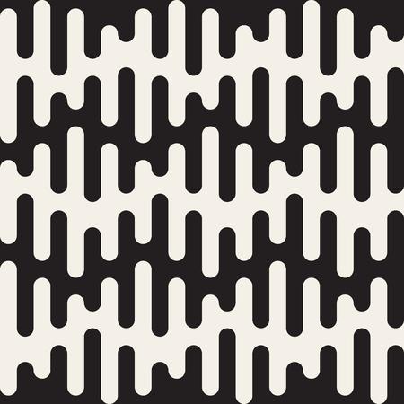 シームレスな黒と白のベクトル丸めしずく波線パターン抽象的な背景