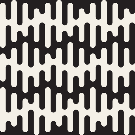 Vector Seamless Black and White Rounded Drips Wavy Lines Pattern Abstract Background Ilustração