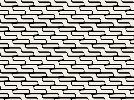 stacking: Vector Seamless Black And White Stacking Stair ZigZag Rounded Lines Pattern Background Illustration