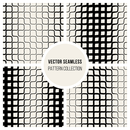 pavement: Vector Seamless Black And White Halftone Truchet Lines Grid Pattern Collection Background Illustration