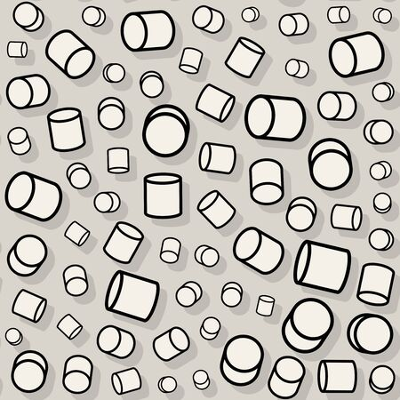 jumble: Vector Seamless Black And White Jumble Rotating Random Scale Cylinder Pattern Background