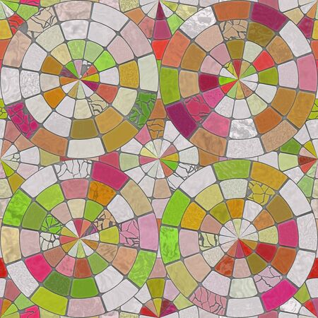 Raster Seamless Multicolor Brick  Pavement Circular Tiling Pattern Abstract Background