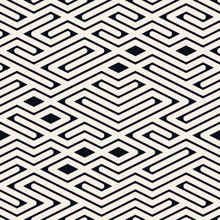 Seamless Black and White Rounded Line Maze Irregular Pattern Abstract Background