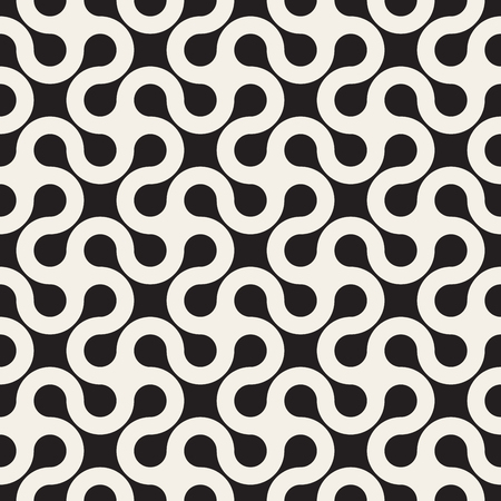 tessellation: Seamless Black and White Rounded Line Spiral Cross Pattern Abstract Background