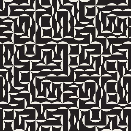 arc: Seamless Black and White Irregular Arc Grid Geometric Pattern Abstract Background