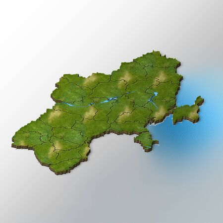 terrain: Isometric Map of Ukraine With Regions And Rivers Abstract Background
