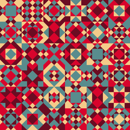 patchwork quilt: Seamless Blue Red Color Overlay Irregular Geometric Blocks Quilt Pattern Abstract Background