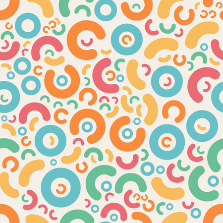 jumble: Seamless Blue Pink Orange Green Color Jumble Rounded Geometric  Shapes  Retro Pattern Abstract Background