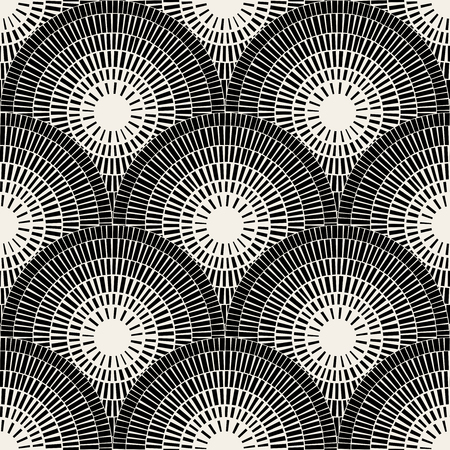 pavement: Vector Seamless Black And White  Brick Round Circle Pavement Mosaic Pattern Background