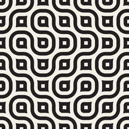 Vector Seamless Wavy Line Black and White Geometric Pattern Abstract Background