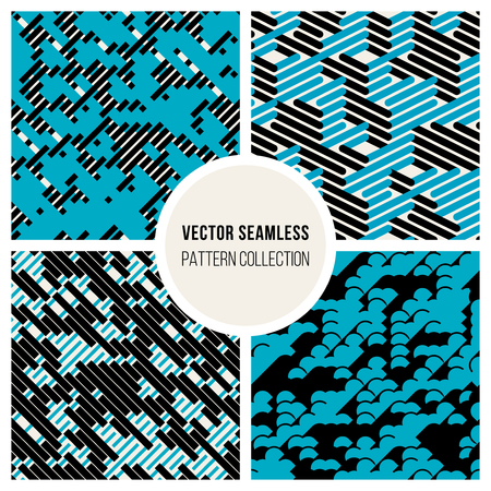 Vector Seamless Black  White  Blue Random Diagonal Parallel Lines Experimental Pattern Background Illustration