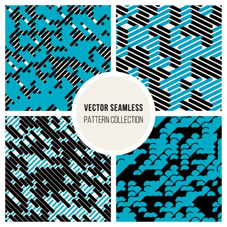 Vector Seamless Black  White  Blue Random Diagonal Parallel Lines Experimental Pattern Background Stock Illustratie