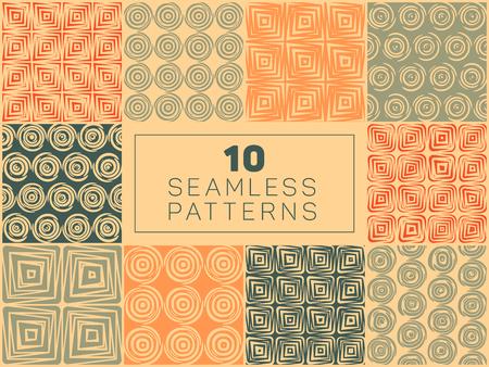 Set van Tien Vector naadloze hand getekende geometrische vierkante Circular Lijnen Patronen In Oranje Tan en groene kleuren abstracte achtergrond