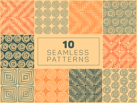 Set of Ten Vector Seamless Hand Drawn Geometric Square Circular Lines Patterns In Orange Tan and Green Colors Abstract Background