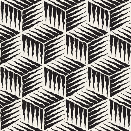 rough: Seamless Black And White Hand Painted Line Geometric Cube Rough Engraving Pattern Abstract Background