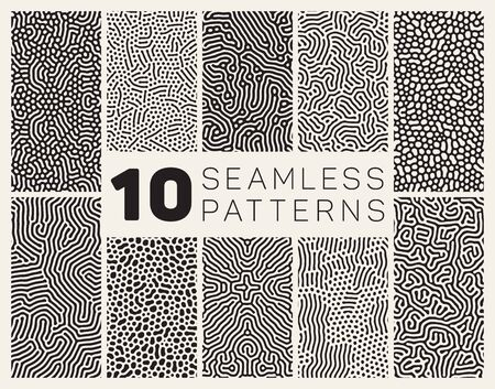 Set of Ten Seamless Black and White Organic Rounded Jumble Maze Lines Patterns Abstract Background