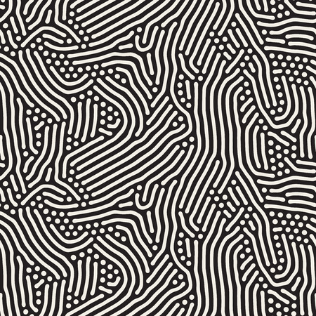 jumble: Seamless Black and White Organic Rounded Jumble Lines Retro Pattern Abstract Background