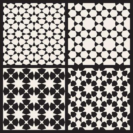 tessellation: Set of Four Seamless Black and White Islamic Stars Tessellation Geometric Pattern Abstract Background