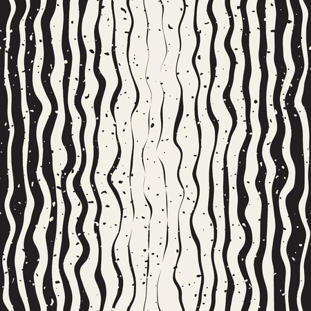 Seamless Black And White Hand Drawn Parallel Vertical Distorted Lines Retro Pattern Abstract Background