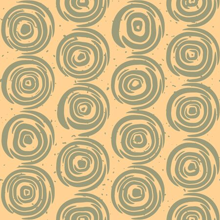 Seamless  Geometric Lines Circular Round Tiles Retro Grungy Green and Tan Color Pattern Abstract Background