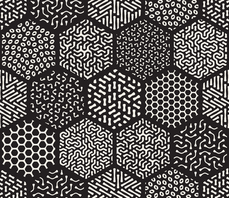 jumble: Seamless Black and White  Hexagonal Patchwork Tiling Filled With Rounded Line Jumble Patterns Abstract Background