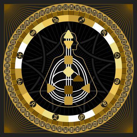 astrological: Astrological Infographics. Hexagrams Circle  Mandala Map
