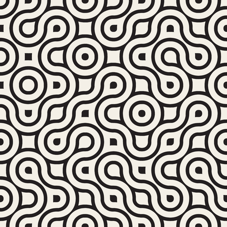 Seamless Black And White Rounded Irregular Maze Lines Pattern  Abstract Background