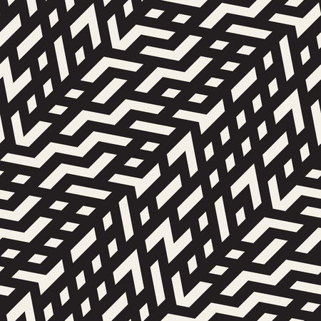 mishmash: Seamless Black And White Jumble ZigZag Lines Diagonal Pattern Abstract Background Illustration